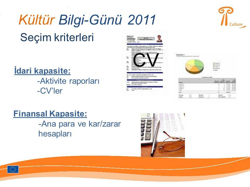 Kültür Bilgi-Günü 2011 Hibe kriterleri 1 ) Avrupa katma değeri ve boyutu 2 ) Programın başlıca amaçlarına uygunluğu 3 ) Çalışma programının mükemmellik seviyesi 4 ) Aktivitelerin verimi 5 ) Sonuçların iletişim ve tanıtımı 6 ) Sürdürülebilirlik