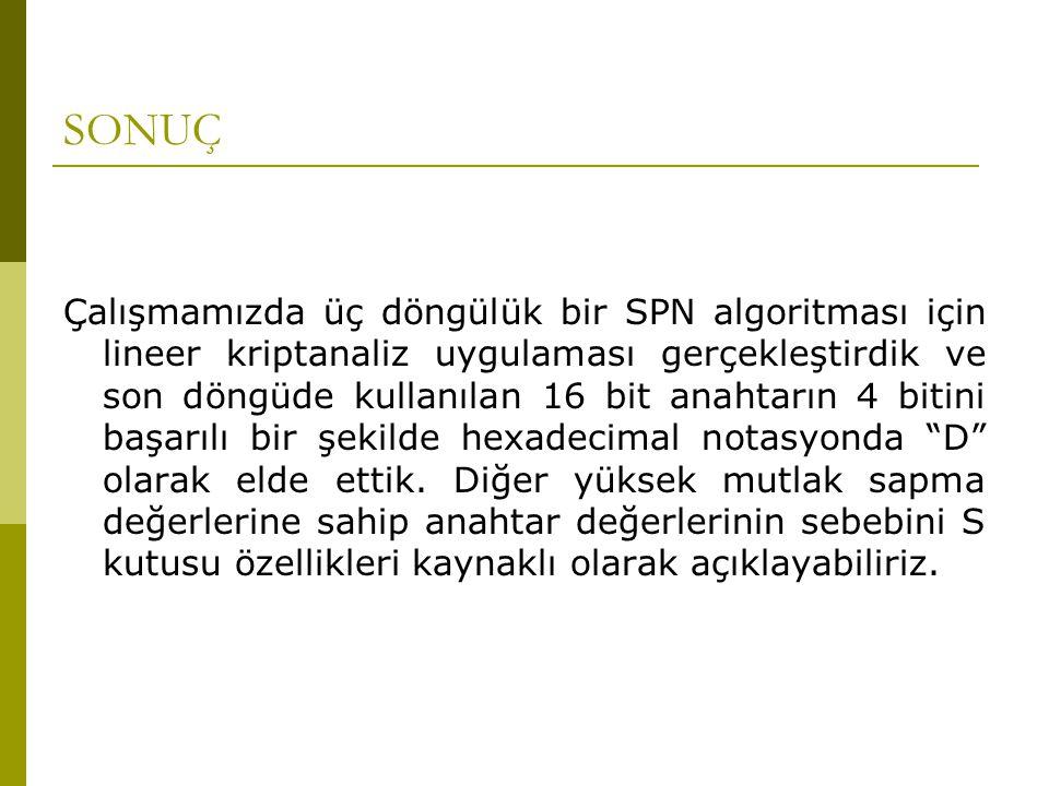 SONUÇ Çalışmamızda üç döngülük bir SPN algoritması için lineer kriptanaliz uygulaması gerçekleştirdik ve son döngüde kullanılan 16 bit anahtarın 4 bit