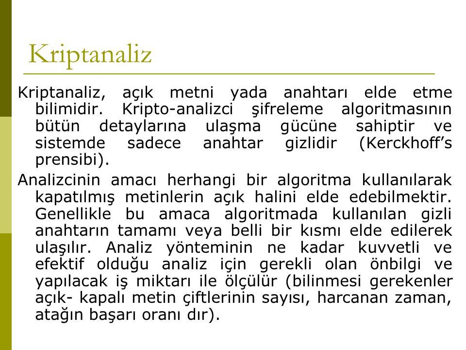 Kriptanaliz Kriptanaliz, açık metni yada anahtarı elde etme bilimidir. Kripto-analizci şifreleme algoritmasının bütün detaylarına ulaşma gücüne sahipt