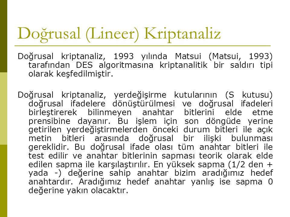 Doğrusal (Lineer) Kriptanaliz Doğrusal kriptanaliz, 1993 yılında Matsui (Matsui, 1993) tarafından DES algoritmasına kriptanalitik bir saldırı tipi ola