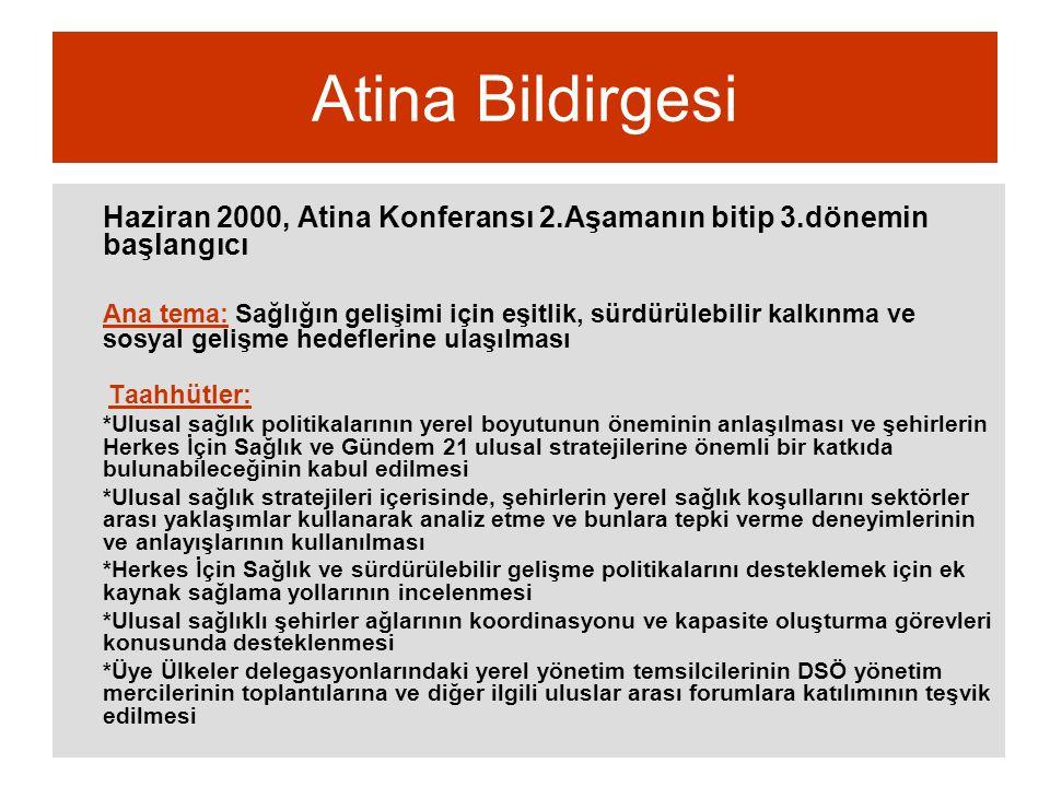 Atina Bildirgesi Haziran 2000, Atina Konferansı 2.Aşamanın bitip 3.dönemin başlangıcı Ana tema: Sağlığın gelişimi için eşitlik, sürdürülebilir kalkınm