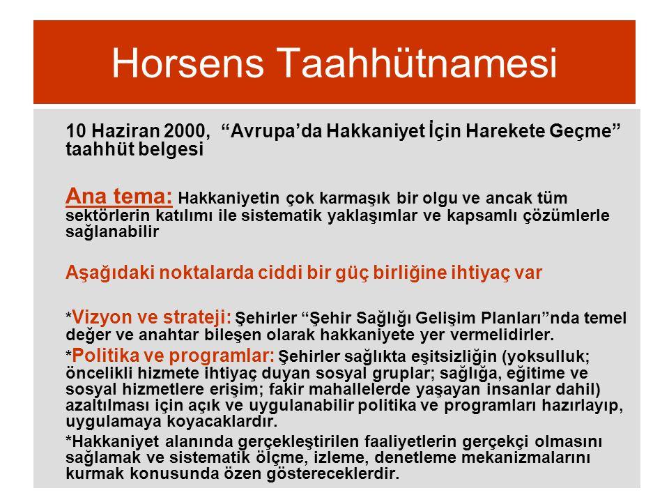 """Horsens Taahhütnamesi 10 Haziran 2000, """"Avrupa'da Hakkaniyet İçin Harekete Geçme"""" taahhüt belgesi Ana tema: Hakkaniyetin çok karmaşık bir olgu ve anca"""