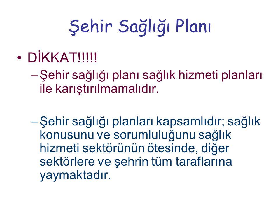 Şehir Sağlığı Planı •DİKKAT!!!!! –Şehir sağlığı planı sağlık hizmeti planları ile karıştırılmamalıdır. –Şehir sağlığı planları kapsamlıdır; sağlık kon