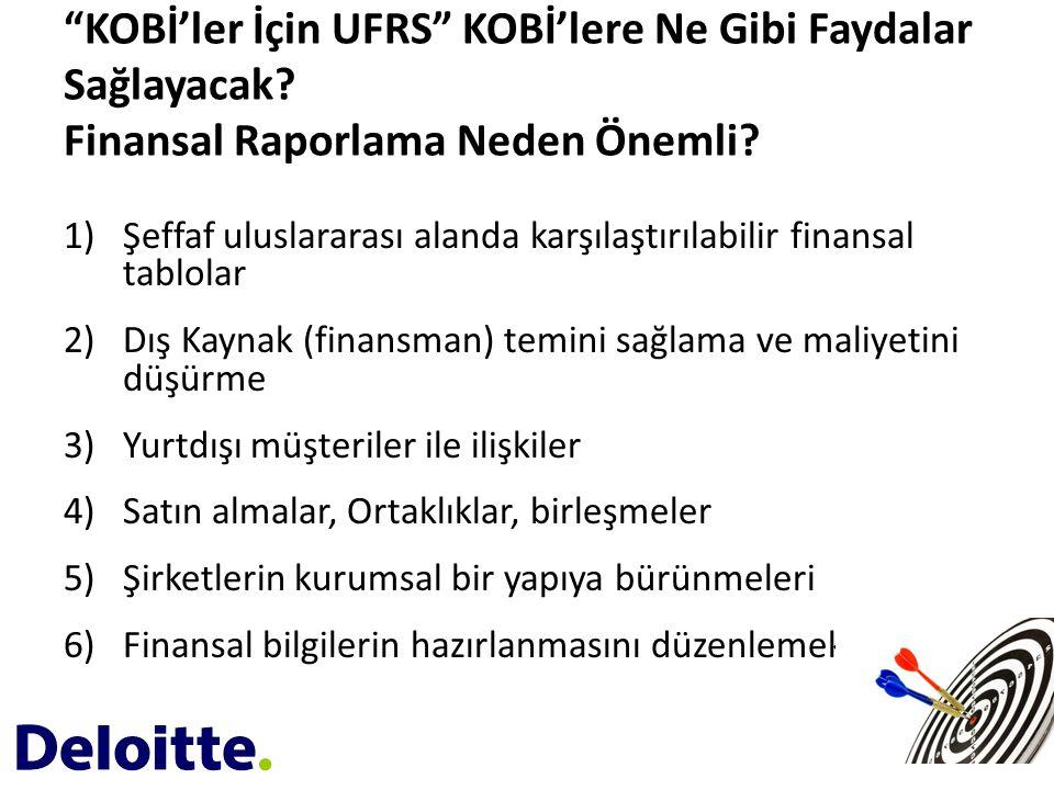 """""""KOBİ'ler İçin UFRS"""" KOBİ'lere Ne Gibi Faydalar Sağlayacak? Finansal Raporlama Neden Önemli? 1)Şeffaf uluslararası alanda karşılaştırılabilir finansal"""