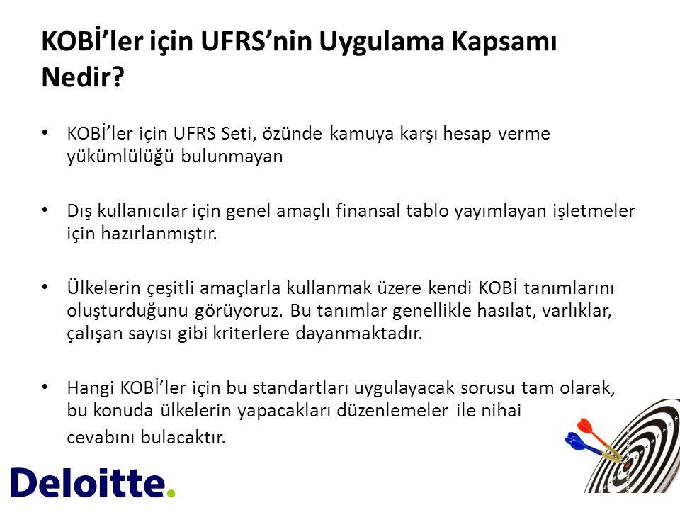 KOBİ'ler için UFRS'nin Uygulama Kapsamı Nedir? • KOBİ'ler için UFRS Seti, özünde kamuya karşı hesap verme yükümlülüğü bulunmayan • Dış kullanıcılar iç