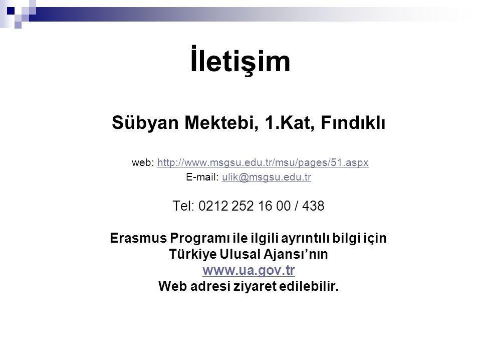 İletişim Sübyan Mektebi, 1.Kat, Fındıklı web: http://www.msgsu.edu.tr/msu/pages/51.aspxhttp://www.msgsu.edu.tr/msu/pages/51.aspx E-mail: ulik@msgsu.edu.trulik@msgsu.edu.tr Tel: 0212 252 16 00 / 438 Erasmus Programı ile ilgili ayrıntılı bilgi için Türkiye Ulusal Ajansı'nın www.ua.gov.tr Web adresi ziyaret edilebilir.