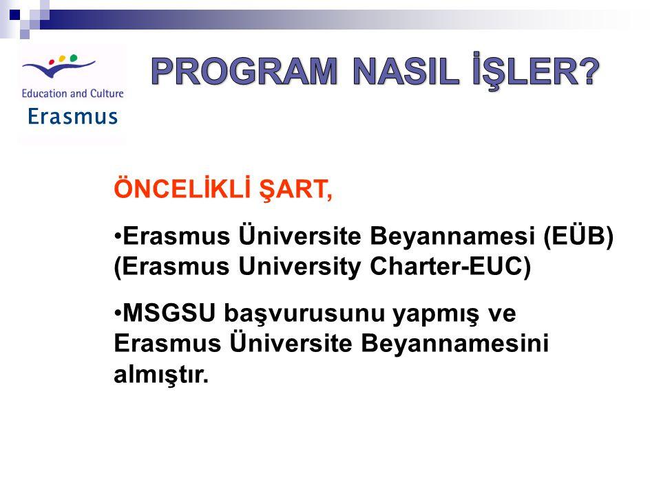 Erasmus ÖNCELİKLİ ŞART, •Erasmus Üniversite Beyannamesi (EÜB) (Erasmus University Charter-EUC) •MSGSU başvurusunu yapmış ve Erasmus Üniversite Beyannamesini almıştır.