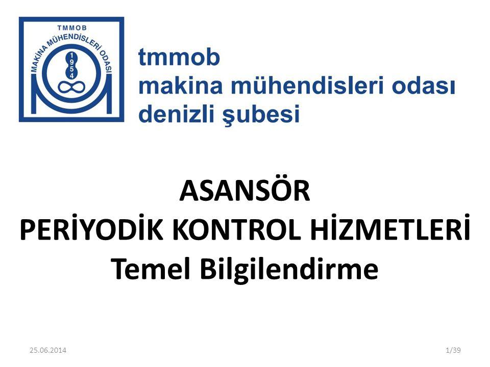 ASANSÖR PERİYODİK KONTROL HİZMETLERİ Temel Bilgilendirme 1/3925.06.2014