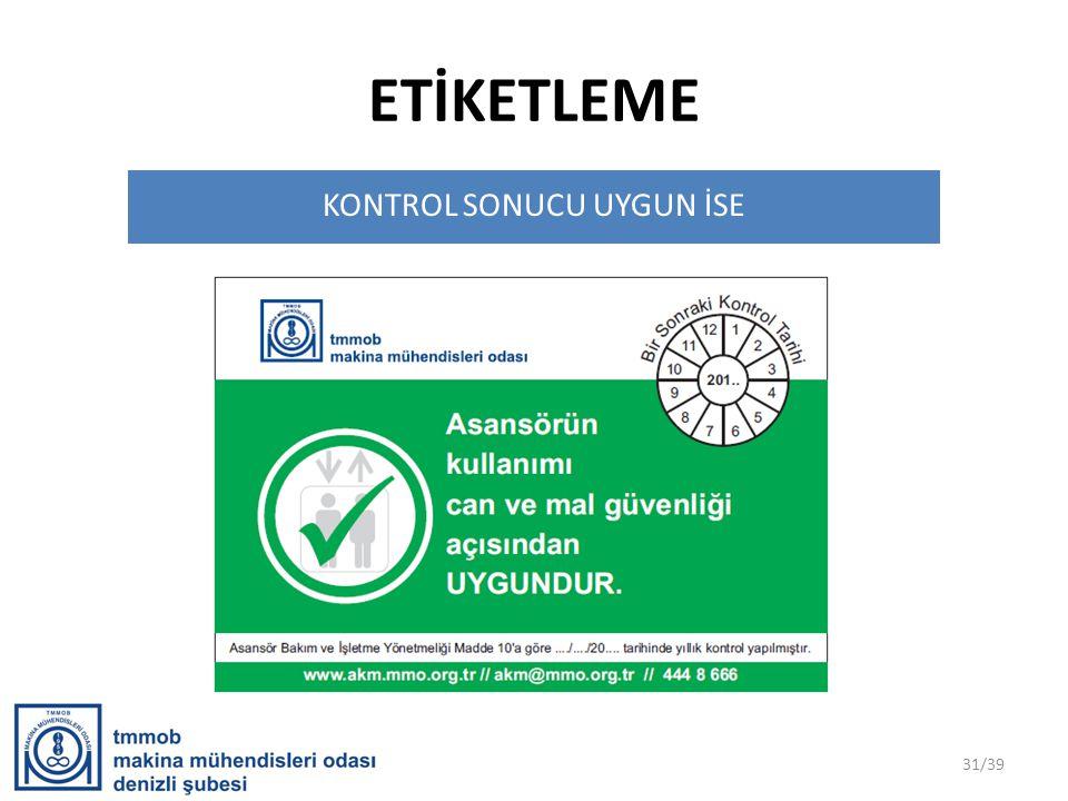 ETİKETLEME KONTROL SONUCU UYGUN İSE 31/39