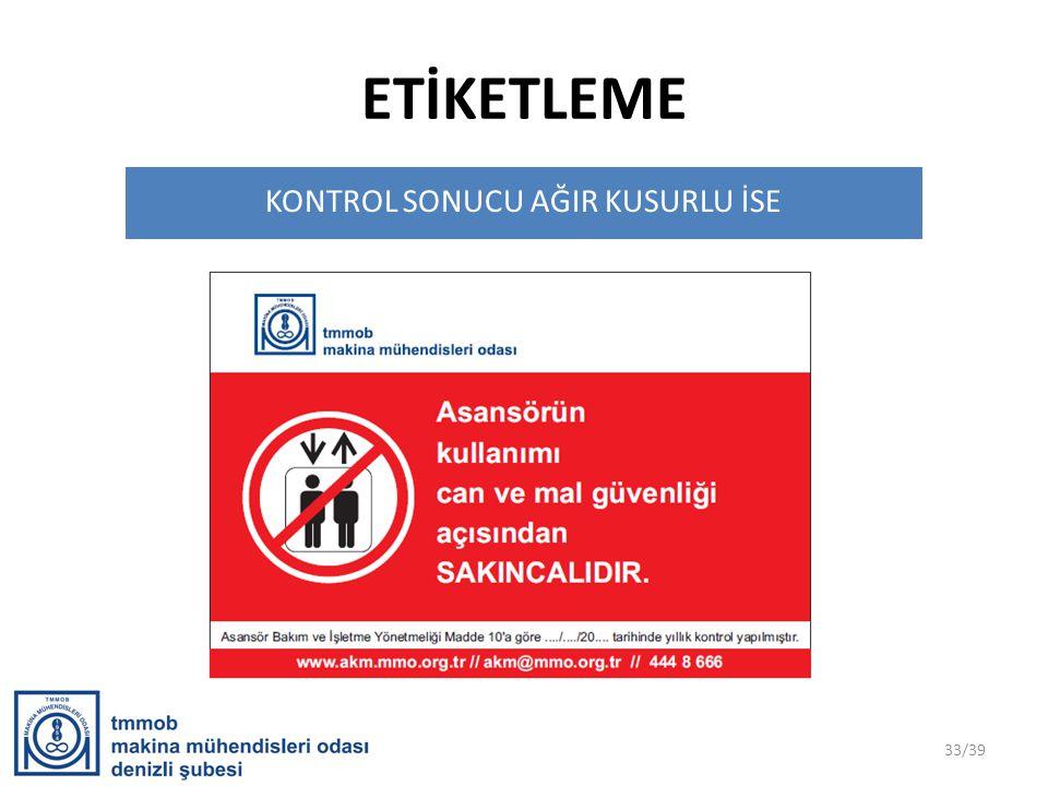 ETİKETLEME KONTROL SONUCU AĞIR KUSURLU İSE 33/39
