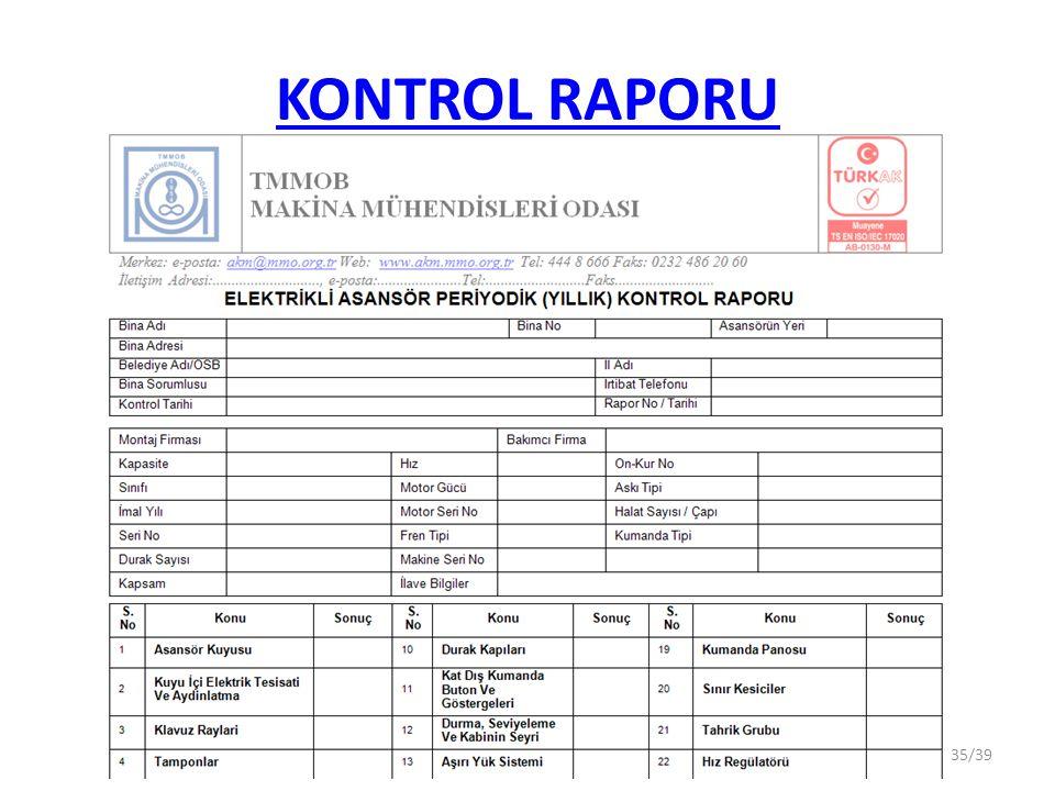 KONTROL RAPORU 35/39