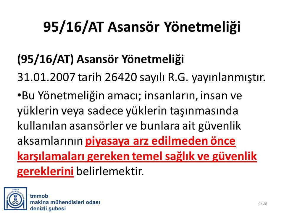 95/16/AT Asansör Yönetmeliği (95/16/AT) Asansör Yönetmeliği 31.01.2007 tarih 26420 sayılı R.G.