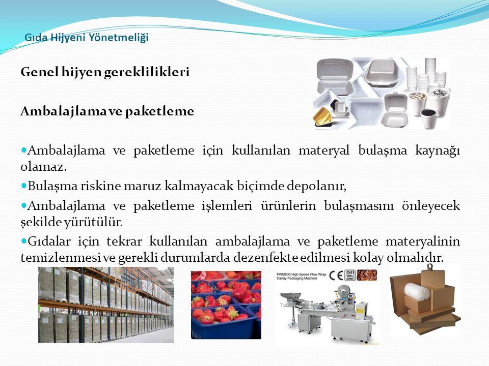 Gıda Hijyeni Yönetmeliği Genel hijyen gereklilikleri Ambalajlama ve paketleme  Ambalajlama ve paketleme için kullanılan materyal bulaşma kaynağı olamaz.