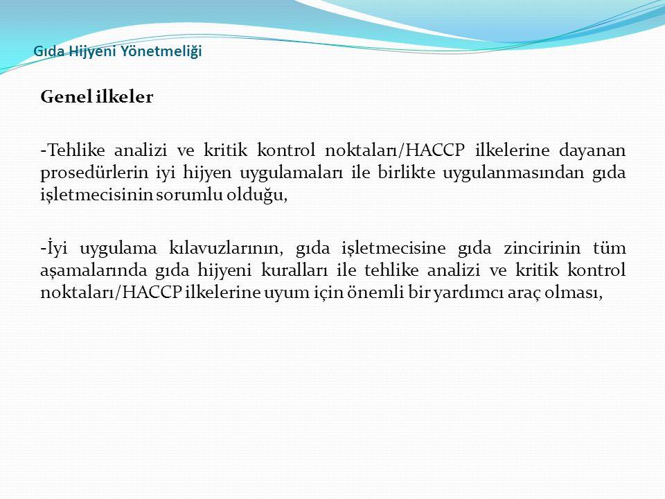 Gıda Hijyeni Yönetmeliği Genel ilkeler -Tehlike analizi ve kritik kontrol noktaları/HACCP ilkelerine dayanan prosedürlerin iyi hijyen uygulamaları ile