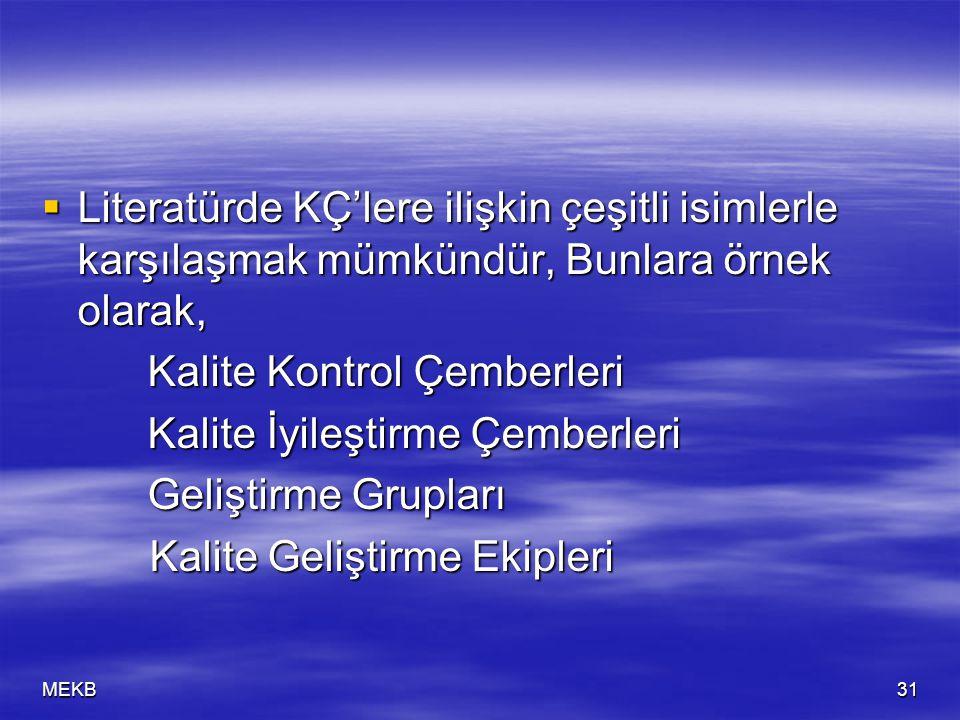 MEKB31  Literatürde KÇ'lere ilişkin çeşitli isimlerle karşılaşmak mümkündür, Bunlara örnek olarak, Kalite Kontrol Çemberleri Kalite Kontrol Çemberler