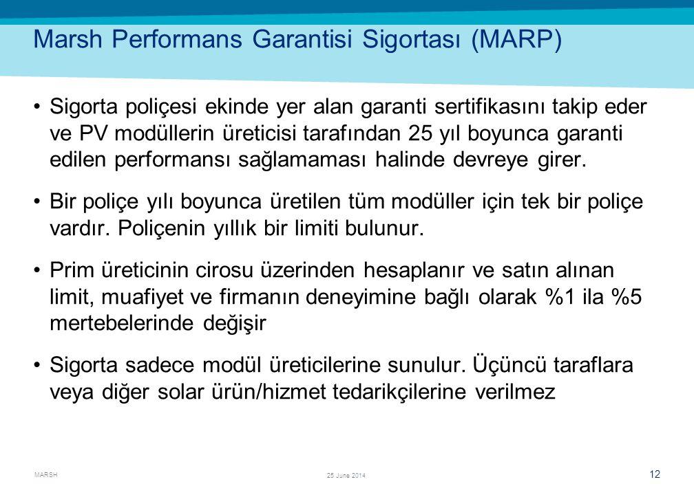 MARSH 12 25 June 2014 Marsh Performans Garantisi Sigortası (MARP) •Sigorta poliçesi ekinde yer alan garanti sertifikasını takip eder ve PV modüllerin