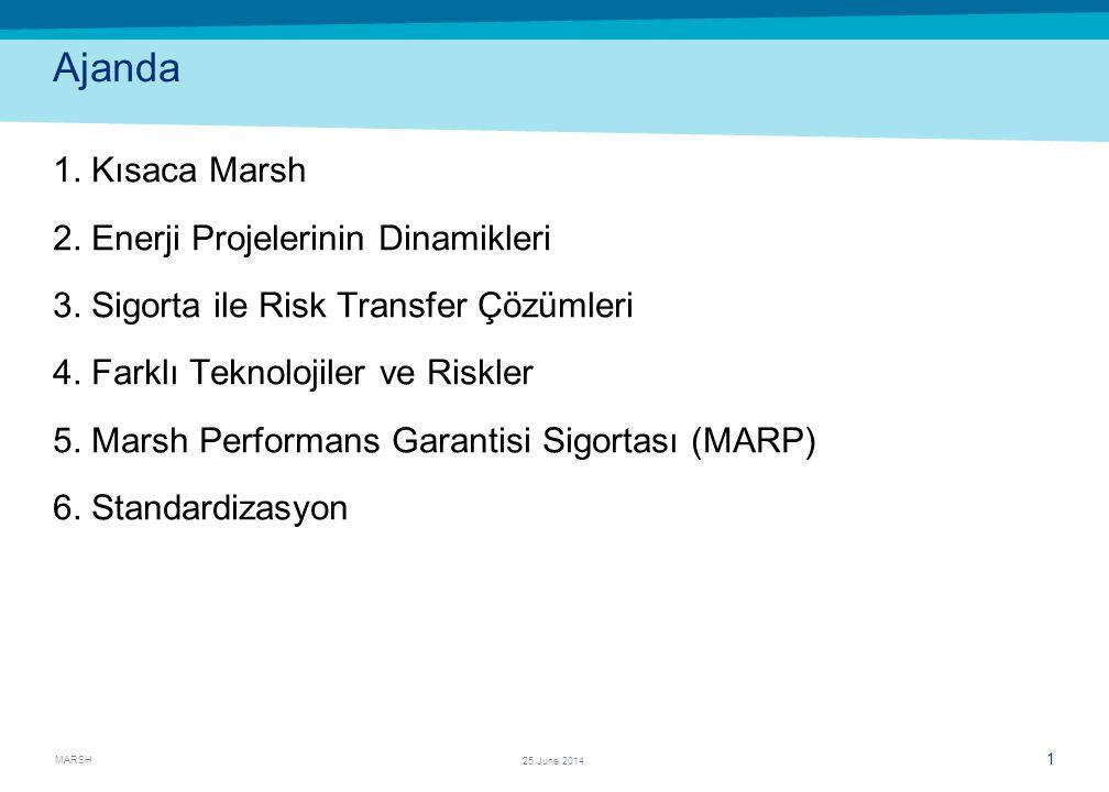 MARSH 1 25 June 2014 Ajanda 1. Kısaca Marsh 2. Enerji Projelerinin Dinamikleri 3. Sigorta ile Risk Transfer Çözümleri 4. Farklı Teknolojiler ve Riskle