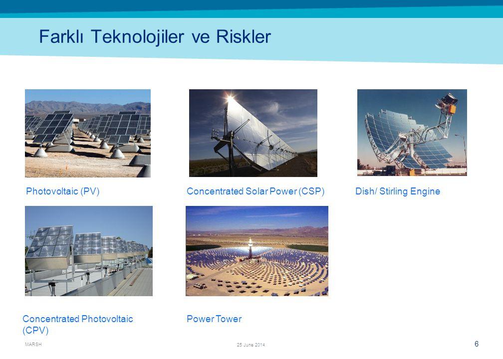 MARSH 6 25 June 2014 Farklı Teknolojiler ve Riskler Photovoltaic (PV) Concentrated Photovoltaic (CPV) Concentrated Solar Power (CSP) Power Tower Dish/