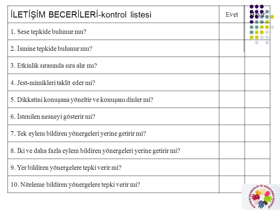 OKUL VE TOPLUM BECERİLERİ-kontrol listesi EvetHayır 1.