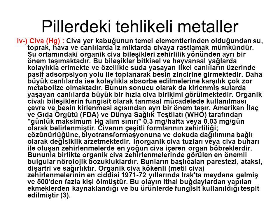Pillerdeki tehlikeli metaller iv-) Civa (Hg) : Civa yer kabuğunun temel elementlerinden olduğundan su, toprak, hava ve canlılarda iz miktarda civaya r