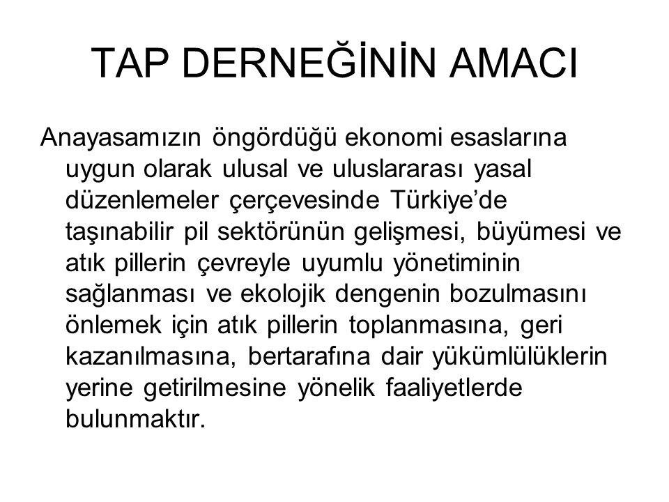 TAP DERNEĞİNİN AMACI Anayasamızın öngördüğü ekonomi esaslarına uygun olarak ulusal ve uluslararası yasal düzenlemeler çerçevesinde Türkiye'de taşınabi