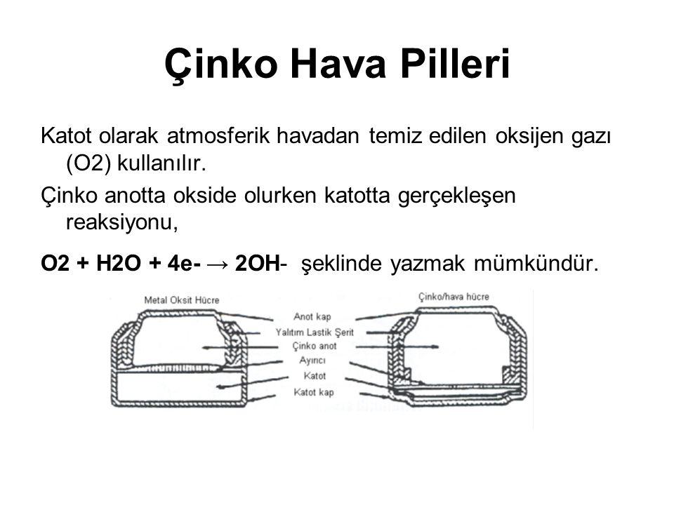 Çinko Hava Pilleri Katot olarak atmosferik havadan temiz edilen oksijen gazı (O2) kullanılır. Çinko anotta okside olurken katotta gerçekleşen reaksiyo