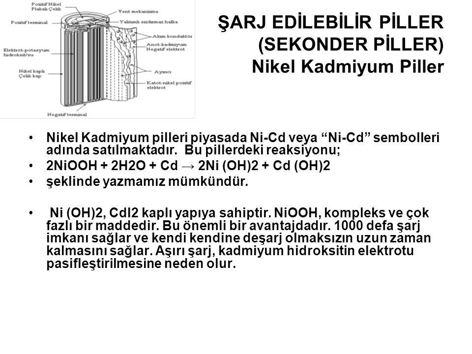 """ŞARJ EDİLEBİLİR PİLLER (SEKONDER PİLLER) Nikel Kadmiyum Piller •Nikel Kadmiyum pilleri piyasada Ni-Cd veya """"Ni-Cd"""" sembolleri adında satılmaktadır. Bu"""