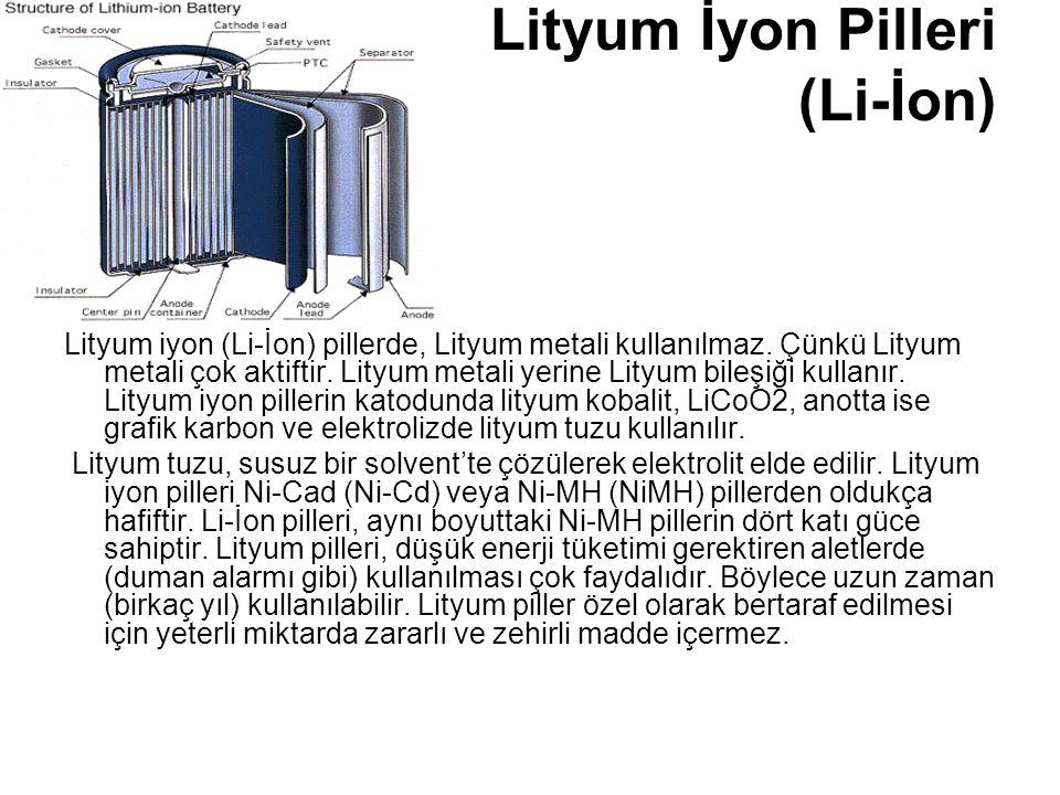 Lityum İyon Pilleri (Li-İon) Lityum iyon (Li-İon) pillerde, Lityum metali kullanılmaz. Çünkü Lityum metali çok aktiftir. Lityum metali yerine Lityum b
