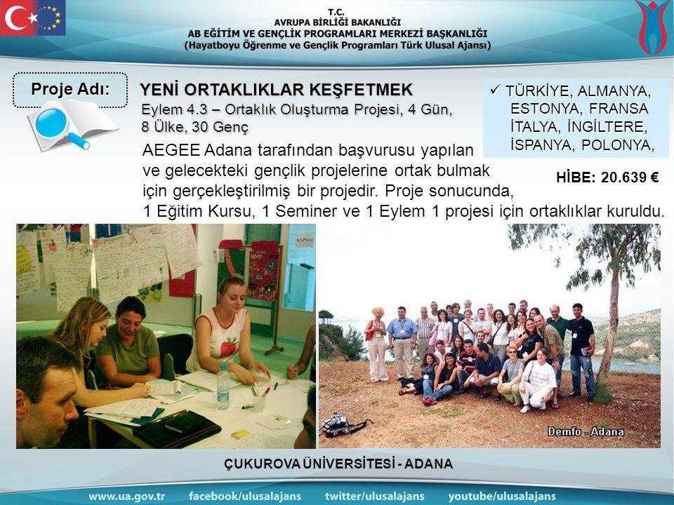 ÇUKUROVA ÜNİVERSİTESİ - ADANA YENİ ORTAKLIKLAR KEŞFETMEK AEGEE Adana tarafından başvurusu yapılan ve gelecekteki gençlik projelerine ortak bulmak için
