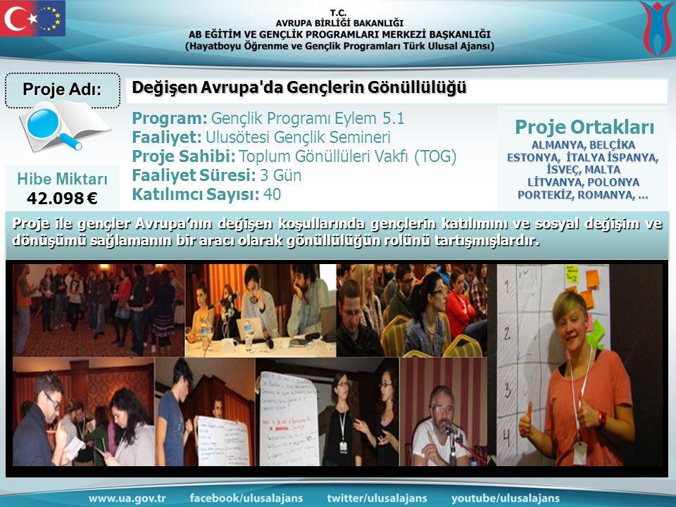 Hibe Miktarı 42.098 € Proje Ortakları ALMANYA, BELÇİKA ESTONYA, İTALYA İSPANYA, İSVEÇ, MALTA LİTVANYA, POLONYA PORTEKİZ, ROMANYA, … Program: Gençlik P
