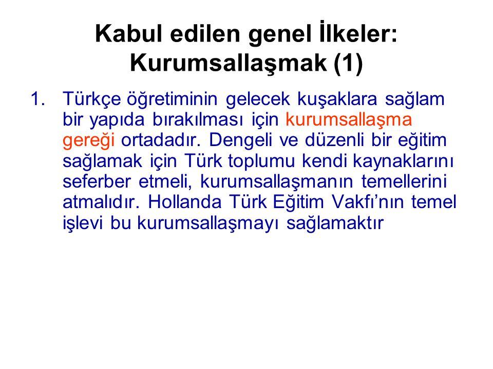 Kabul edilen genel İlkeler: Kurumsallaşmak (1) 1.Türkçe öğretiminin gelecek kuşaklara sağlam bir yapıda bırakılması için kurumsallaşma gereği ortadadır.