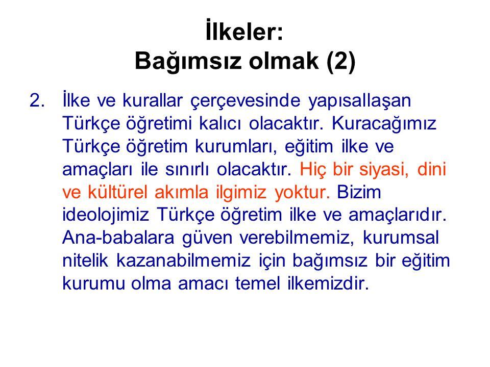 İlkeler: Bağımsız olmak (2) 2.İlke ve kurallar çerçevesinde yapısallaşan Türkçe öğretimi kalıcı olacaktır.