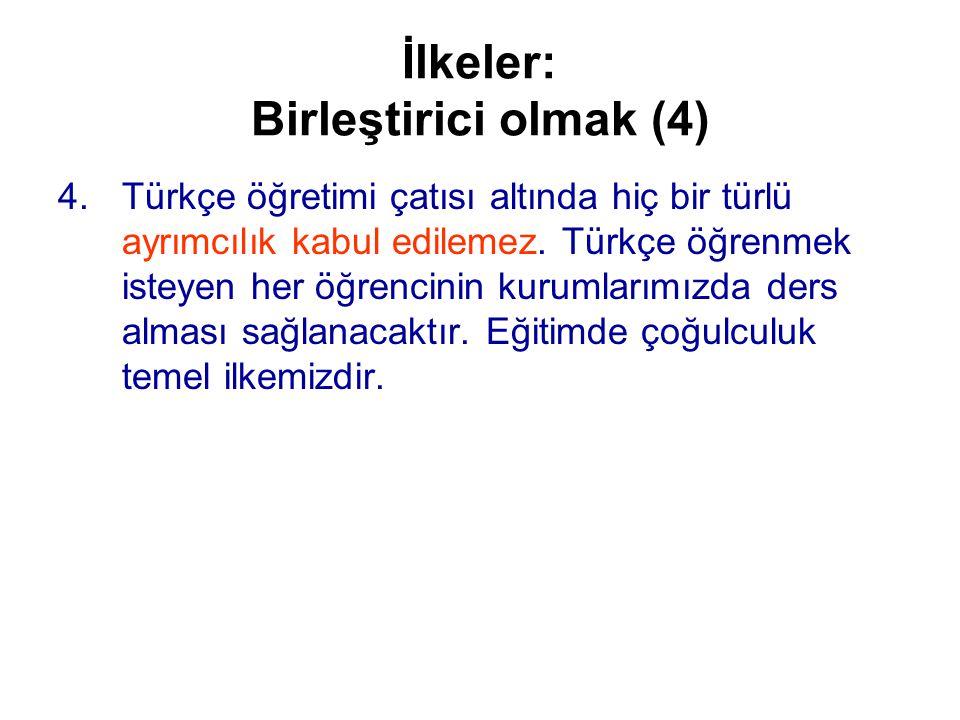 İlkeler: Birleştirici olmak (4) 4.Türkçe öğretimi çatısı altında hiç bir türlü ayrımcılık kabul edilemez.