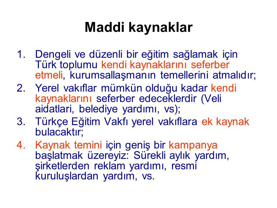 Maddi kaynaklar 1.Dengeli ve düzenli bir eğitim sağlamak için Türk toplumu kendi kaynaklarını seferber etmeli, kurumsallaşmanın temellerini atmalıdır; 2.Yerel vakıflar mümkün olduğu kadar kendi kaynaklarını seferber edeceklerdir (Veli aidatlari, belediye yardımı, vs); 3.Türkçe Eğitim Vakfı yerel vakıflara ek kaynak bulacaktır; 4.Kaynak temini için geniş bir kampanya başlatmak üzereyiz: Sürekli aylık yardım, şirketlerden reklam yardımı, resmi kuruluşlardan yardım, vs.