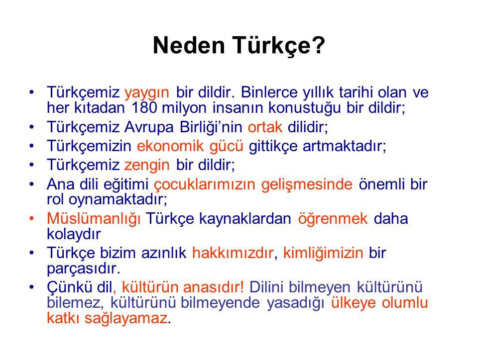 Neden Türkçe.•Türkçemiz yaygın bir dildir.