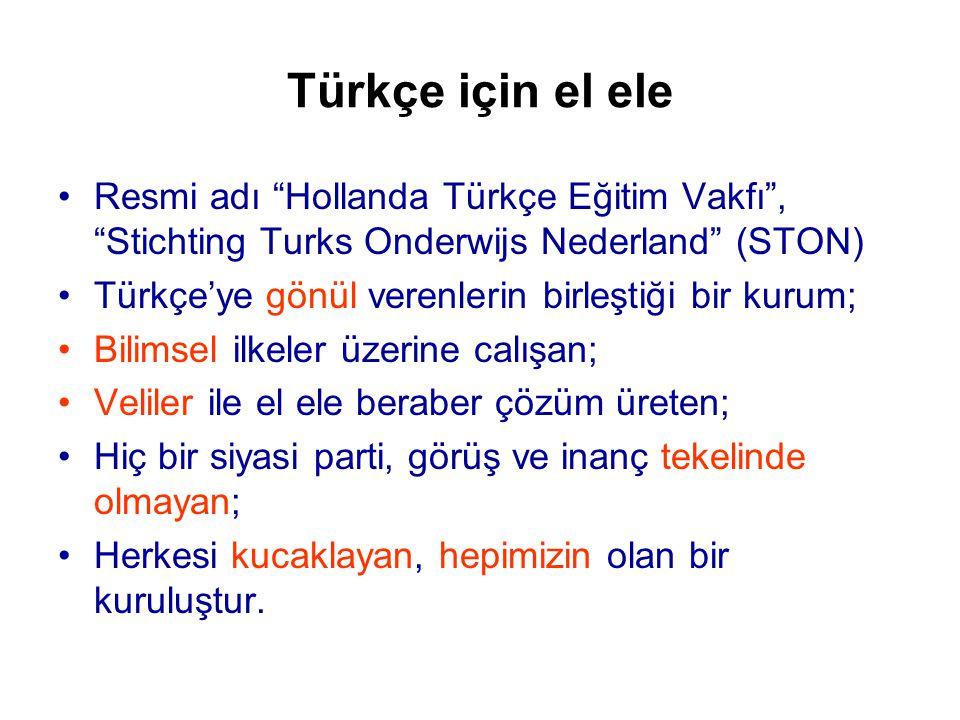 Türkçe için el ele •Resmi adı Hollanda Türkçe Eğitim Vakfı , Stichting Turks Onderwijs Nederland (STON) •Türkçe'ye gönül verenlerin birleştiği bir kurum; •Bilimsel ilkeler üzerine calışan; •Veliler ile el ele beraber çözüm üreten; •Hiç bir siyasi parti, görüş ve inanç tekelinde olmayan; •Herkesi kucaklayan, hepimizin olan bir kuruluştur.