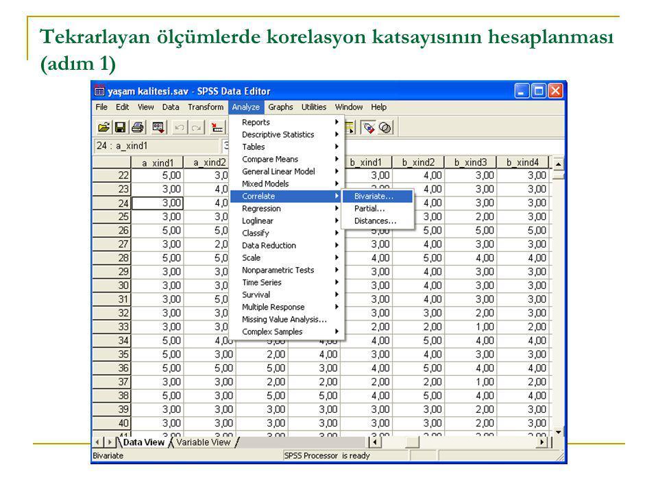 Tekrarlayan ölçümlerde korelasyon katsayısının hesaplanması (adım 1)