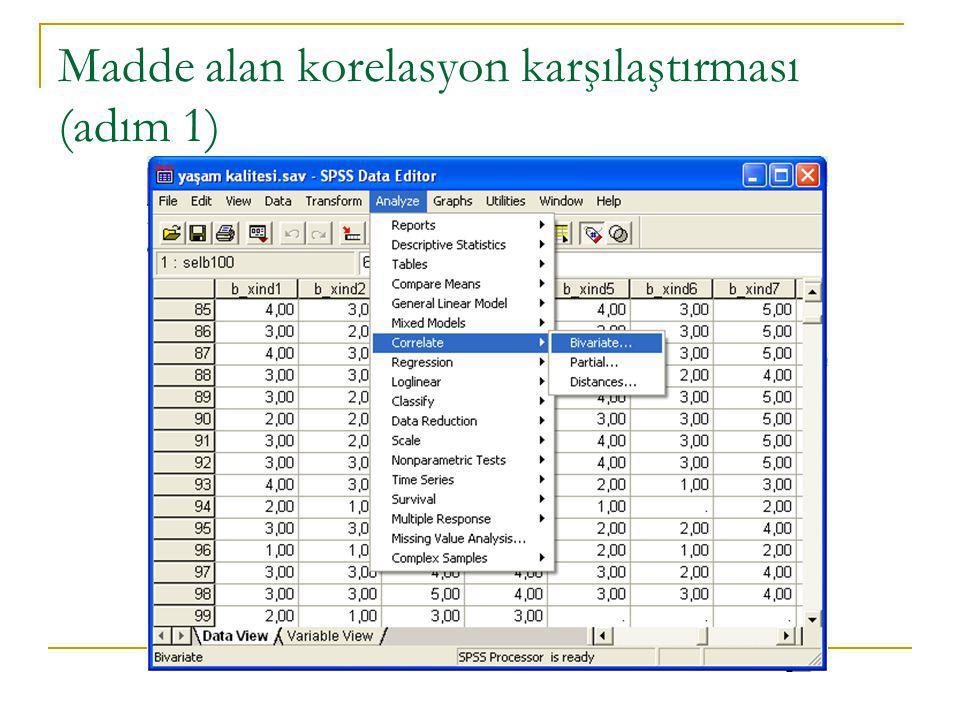 Madde alan korelasyon karşılaştırması (adım 1)