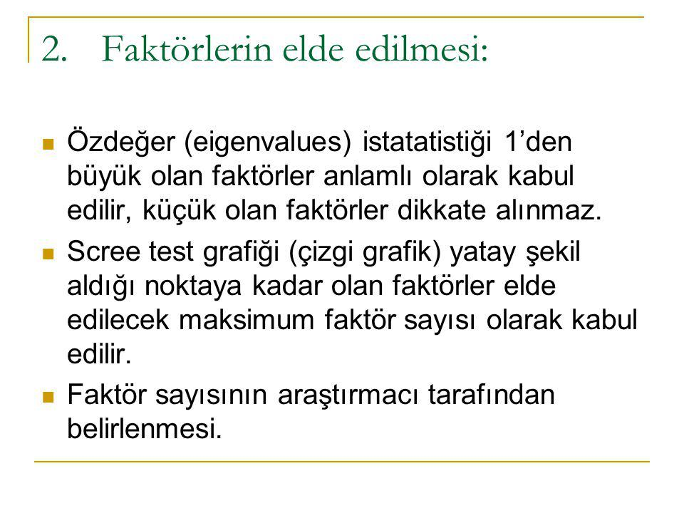 2.Faktörlerin elde edilmesi:  Özdeğer (eigenvalues) istatatistiği 1'den büyük olan faktörler anlamlı olarak kabul edilir, küçük olan faktörler dikkat