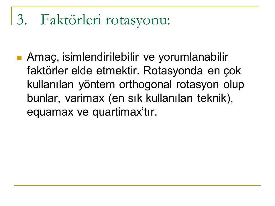 3.Faktörleri rotasyonu:  Amaç, isimlendirilebilir ve yorumlanabilir faktörler elde etmektir. Rotasyonda en çok kullanılan yöntem orthogonal rotasyon