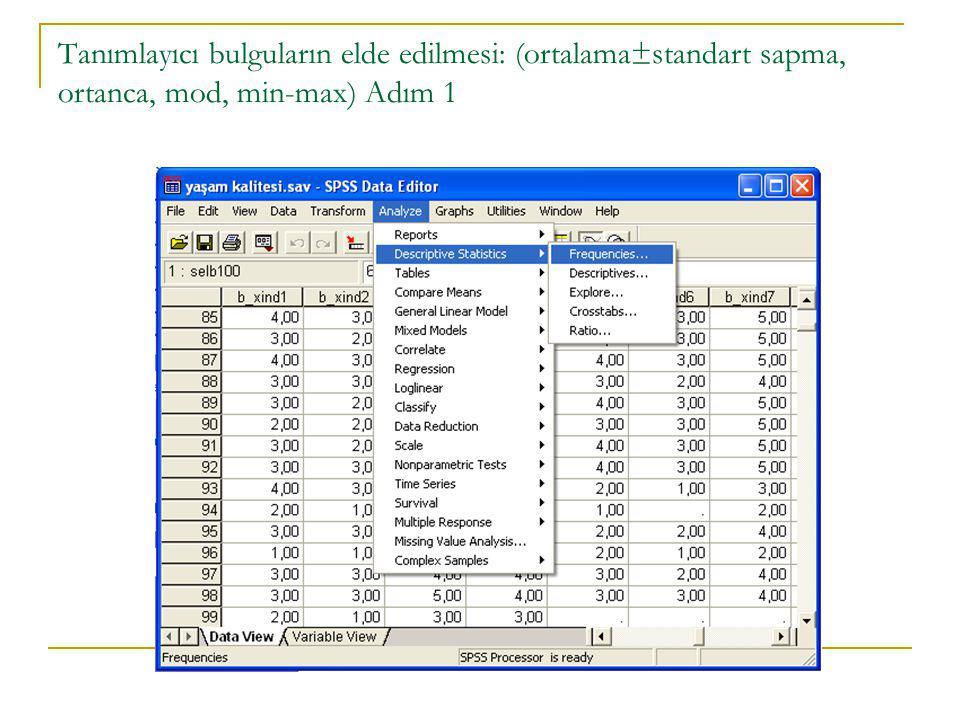 Tanımlayıcı bulguların elde edilmesi: (ortalama±standart sapma, ortanca, mod, min-max) Adım 1