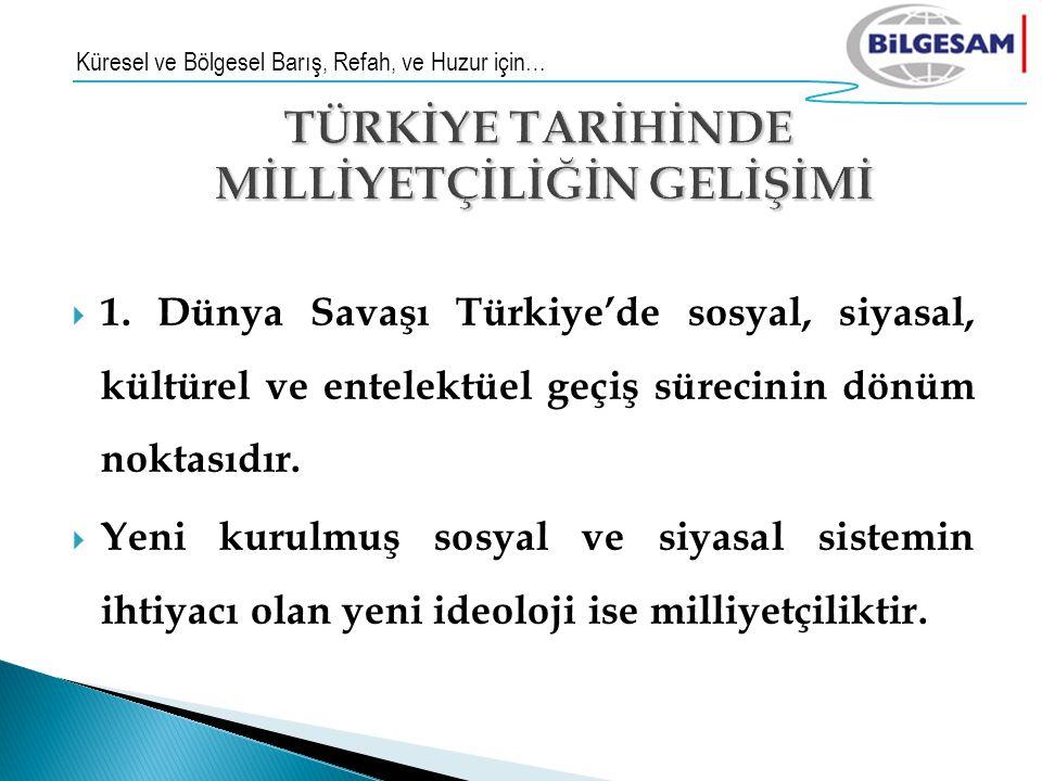  1. Dünya Savaşı Türkiye'de sosyal, siyasal, kültürel ve entelektüel geçiş sürecinin dönüm noktasıdır.  Yeni kurulmuş sosyal ve siyasal sistemin iht