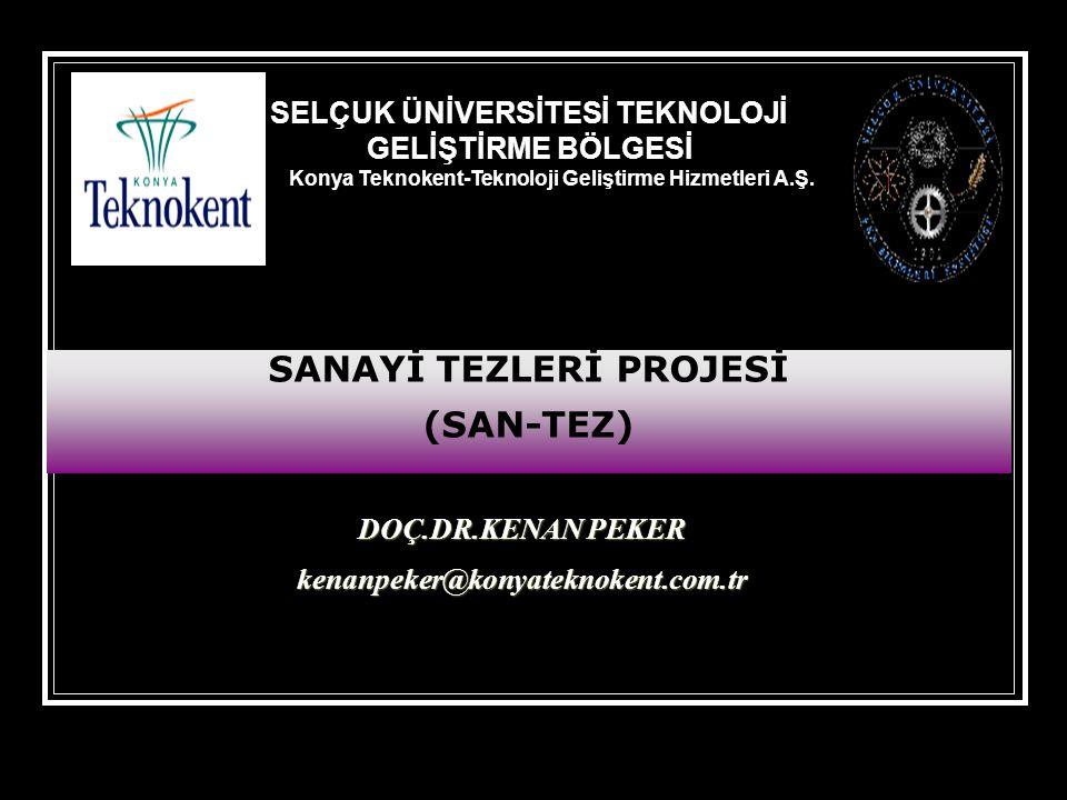 DOÇ.DR.KENAN PEKER kenanpeker@konyateknokent.com.tr SELÇUK ÜNİVERSİTESİ TEKNOLOJİ GELİŞTİRME BÖLGESİ Konya Teknokent-Teknoloji Geliştirme Hizmetleri A