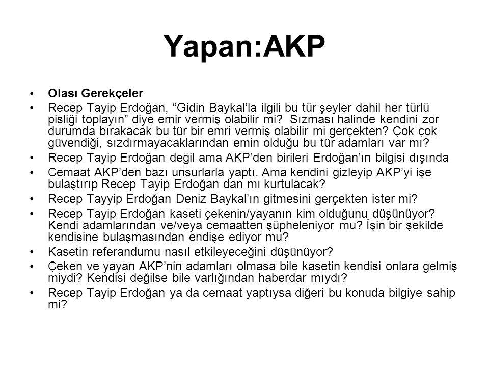 Yapan:AKP •Olası Gerekçeler •Recep Tayip Erdoğan, Gidin Baykal'la ilgili bu tür şeyler dahil her türlü pisliği toplayın diye emir vermiş olabilir mi.