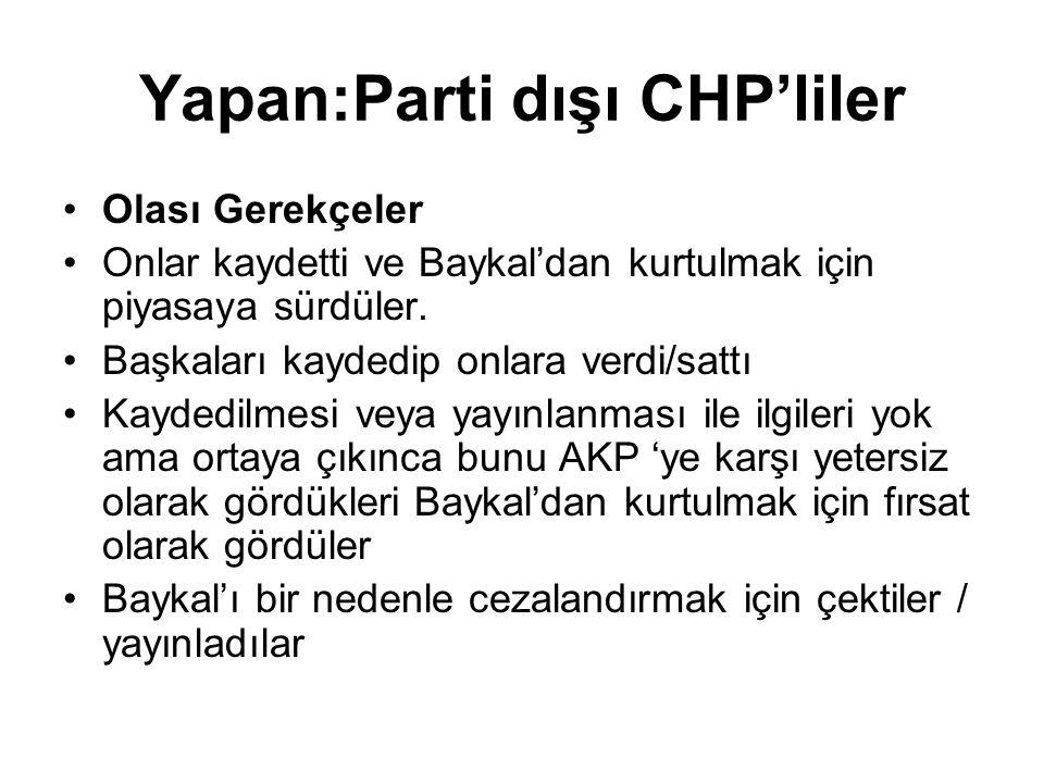 Yapan:Parti dışı CHP'liler •Olası Gerekçeler •Onlar kaydetti ve Baykal'dan kurtulmak için piyasaya sürdüler.