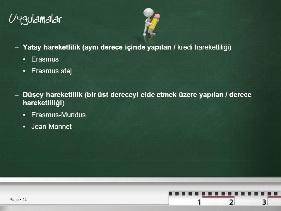 Page  14 Uygulamalar –Yatay hareketlilik (aynı derece içinde yapılan / kredi hareketliliği) •Erasmus •Erasmus staj –Düşey hareketlilik (bir üst dereceyi elde etmek üzere yapılan / derece hareketliliği) •Erasmus-Mundus •Jean Monnet