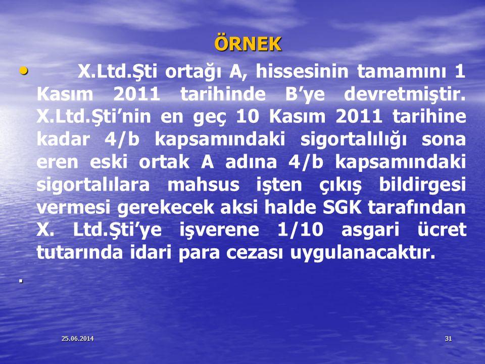 25.06.201431 ÖRNEK ÖRNEK • • X.Ltd.Şti ortağı A, hissesinin tamamını 1 Kasım 2011 tarihinde B'ye devretmiştir. X.Ltd.Şti'nin en geç 10 Kasım 2011 tari