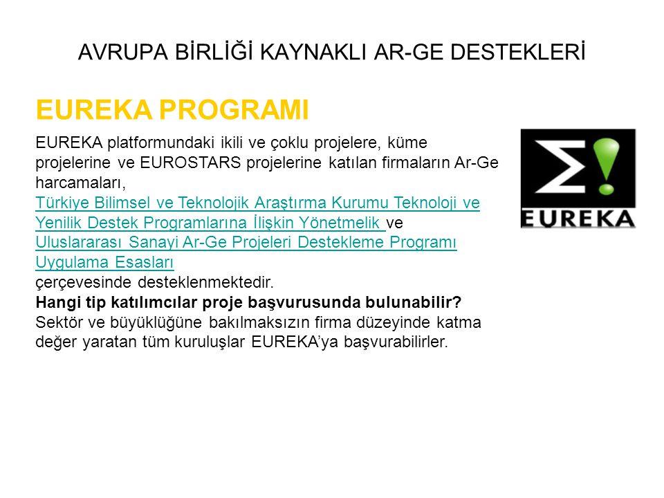 AVRUPA BİRLİĞİ KAYNAKLI AR-GE DESTEKLERİ EUREKA PROGRAMI EUREKA platformundaki ikili ve çoklu projelere, küme projelerine ve EUROSTARS projelerine kat