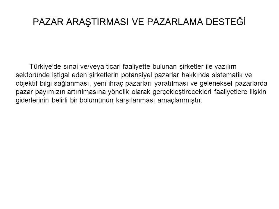 Türkiye'de sınai ve/veya ticari faaliyette bulunan şirketler ile yazılım sektöründe iştigal eden şirketlerin potansiyel pazarlar hakkında sistematik v