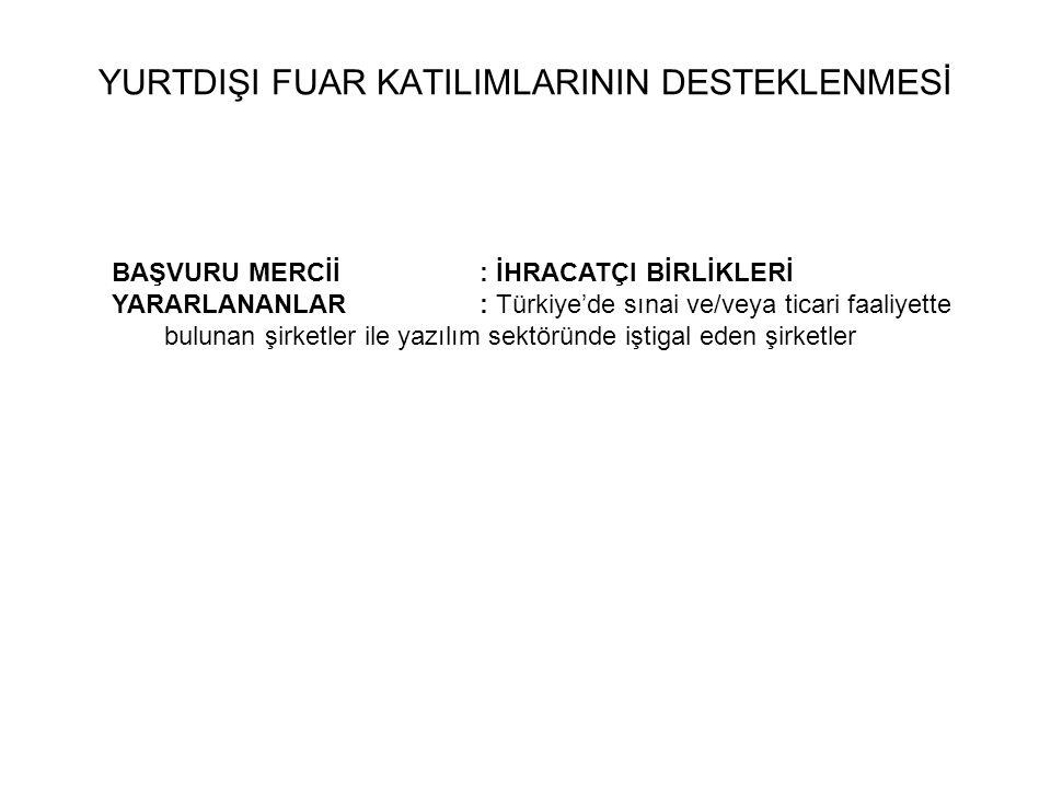 BAŞVURU MERCİİ : İHRACATÇI BİRLİKLERİ YARARLANANLAR: Türkiye'de sınai ve/veya ticari faaliyette bulunan şirketler ile yazılım sektöründe iştigal eden